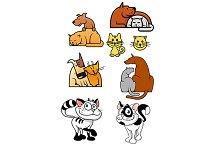 Set of pet best friends icons