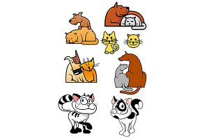 Set of pet best friends icons