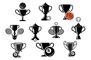 Isolated sporting trophy icons set