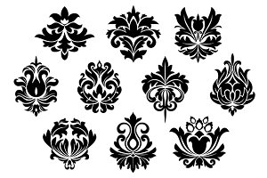 Black floral and arabesque elements
