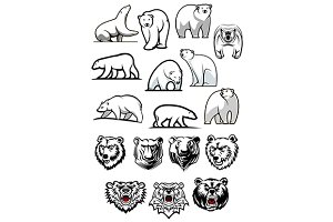 White polar bear cartoon characters