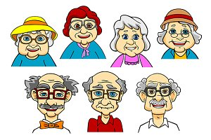 Cartoon smiling senior peoples chara