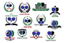Table tennis sporting icons and labe