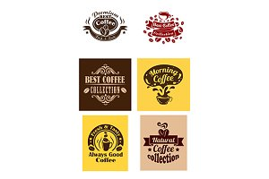 Best coffee logos and banners
