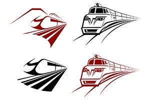 Stylized speeding train or subway ic