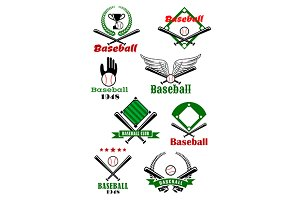 Baseball game sporting emblems and s