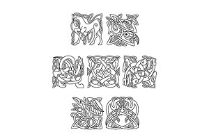 Square decorative celtic motifs of a