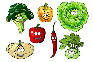 Fresh healthy cartoon vegetables cha