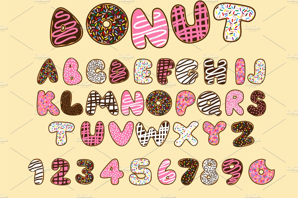 Donut Vector Font Illustrations Creative Market