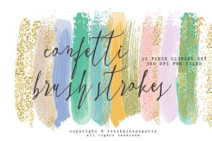 Confetti gold paint brush strokes