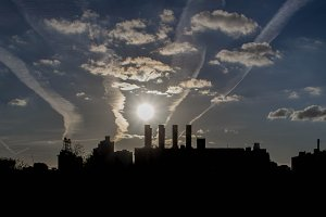Factory Smokestack Silhouette