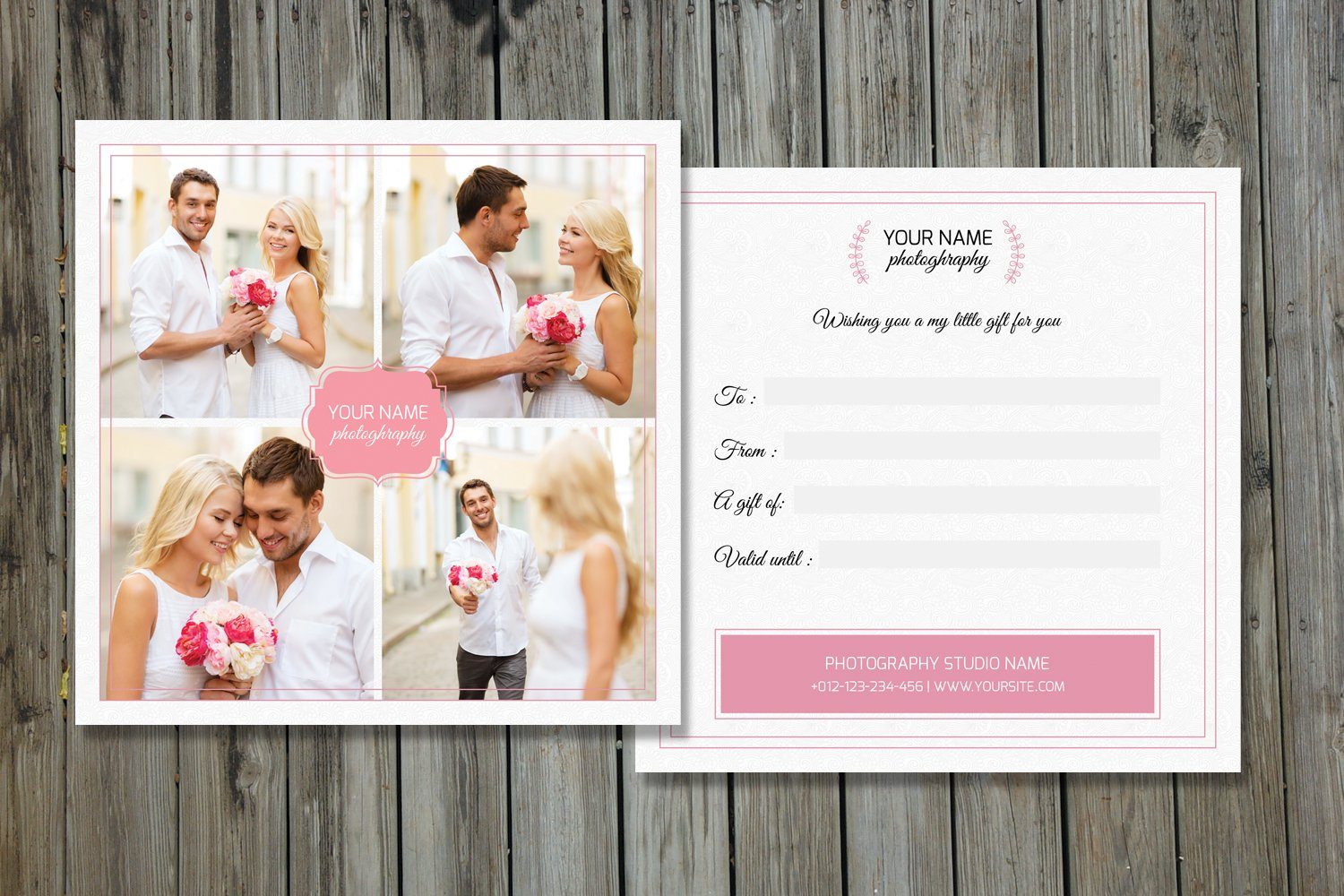 photographer gift certificate v01 card templates creative market