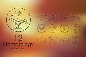 12 stomatology line icons