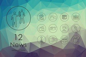12 news line icons