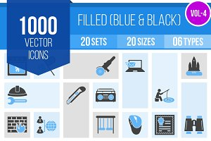 1000 Filled Blue & Black Icons (V4)