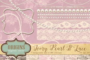 Ivory Pearl & Lace Scrapbook Kit