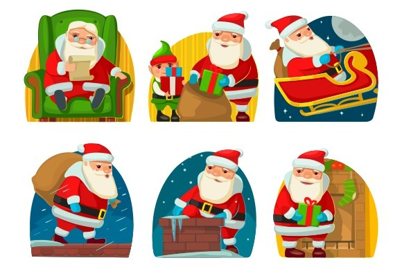 Santa Claus and elf. NEW YEAR 2016 - Illustrations
