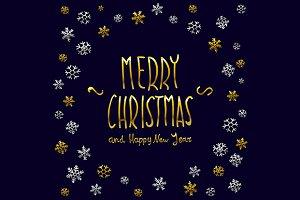 Merry Christmas. Happy New Year snow