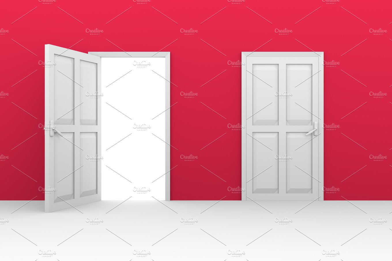 open and closed doors ~ Illustrations ~ Creative Market