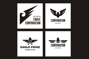 Four Eagle Vector Logo Signs
