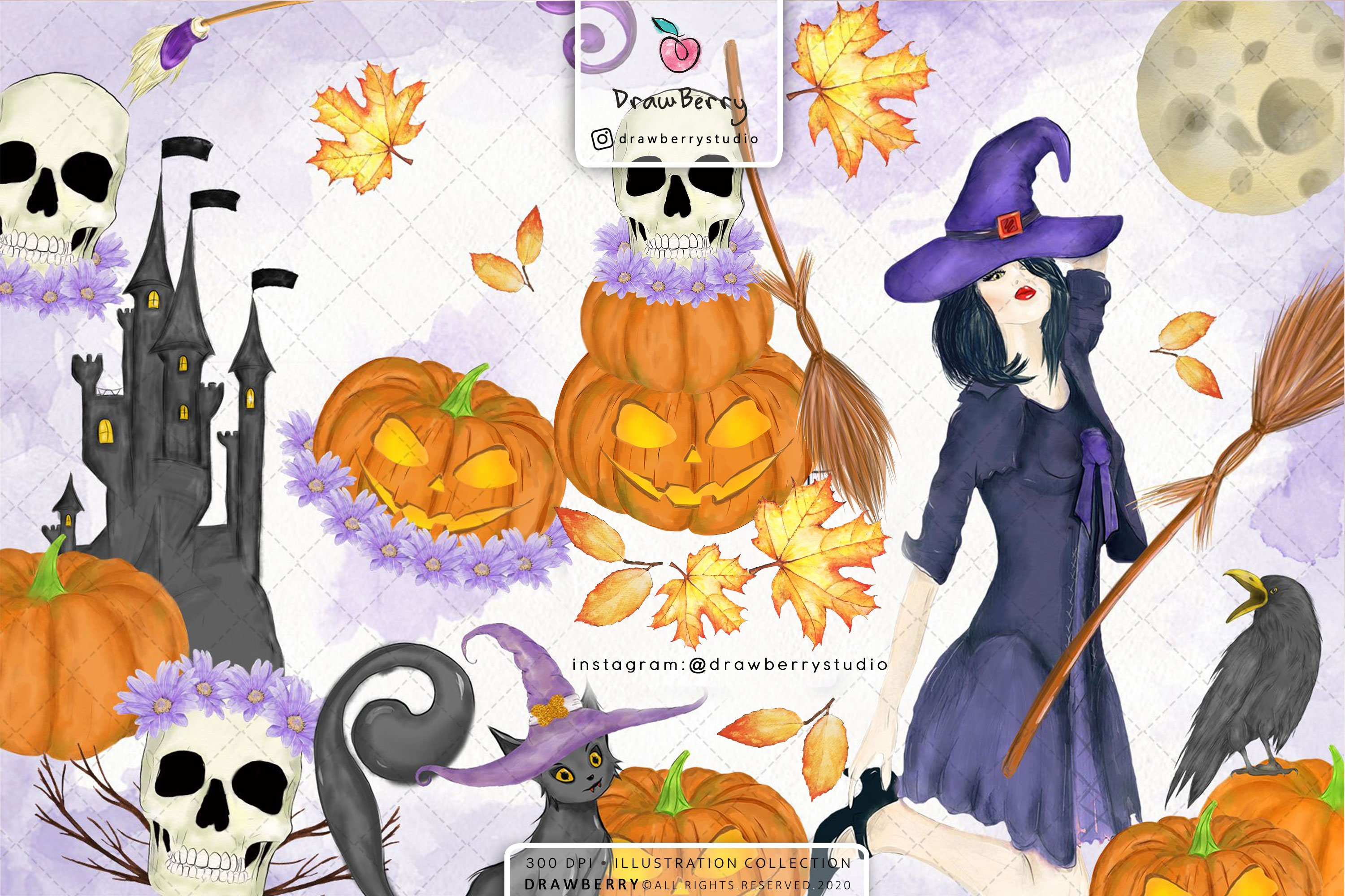 Halloween Clip Art 2020 Halloween Clipart Digital Watercolor | Custom Designed