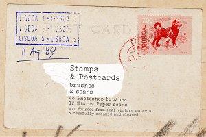 Vintage stamps brushes & paper scans