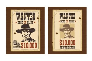 Western retro Wanted Poster template