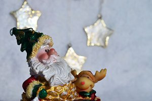 Santa Claus on grey background