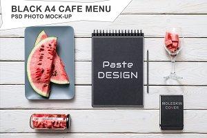Black A4 Cafe Menu Mockup