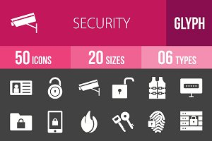 50 Security Glyph Inverted Icons