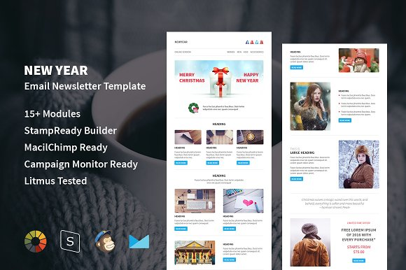 new year responsive email template email