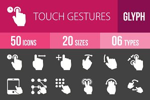50 Touch Gesture Glyph Inverted Icon