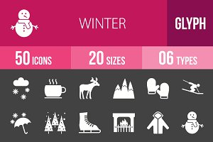 50 Winters Glyph Inverted Icons