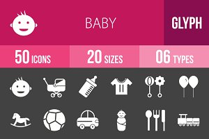 50 Baby Glyph Inverted Icons