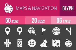 50 Maps Glyph Inverted Icons