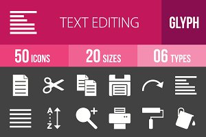 50 Text Editing Glyph Inverted Icons