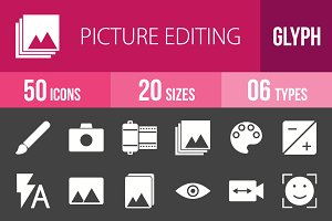 50 Picture Edit Glyph Inverted Icons