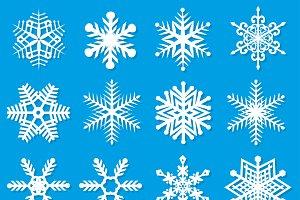Snowflakes set flat
