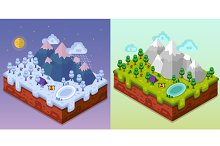 Isometric Camping Landscapes
