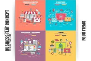 Set of Flat Business Concept