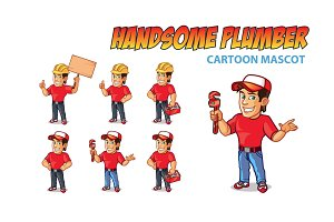 Handsome Plumber Cartoon Mascot