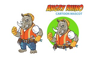 Angry Rhino Cartoon Mascot