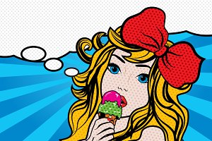 Pop Art Woman Eating ice cream.