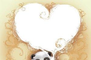 Panda congratulates Valentine's Day