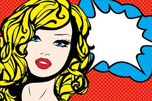 Pop Art Woman with speech Bubble.