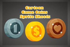 Cartoon Game Coins Sprite Sheets
