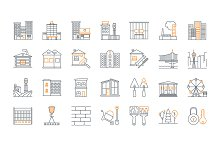 Set of line building icons