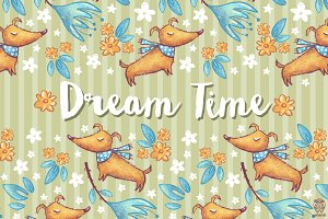 4 Seamless Patterns • Dream Time