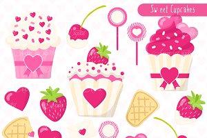 Valentines Cupcakes Clipart Vectors