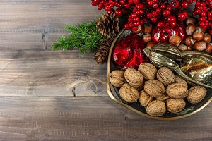 Walnuts and christmas decorations